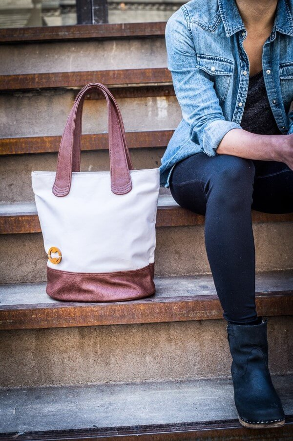 Cream and brushed pint bergen tote bag