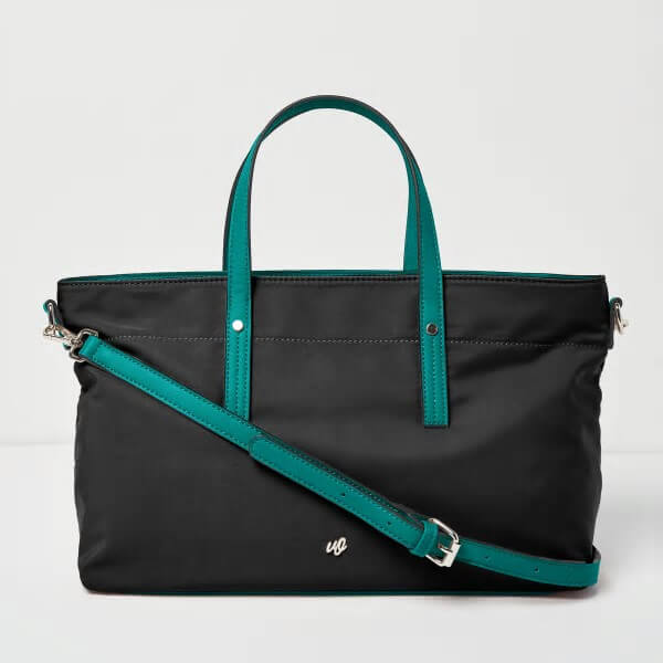 black and aqua super star tote bag